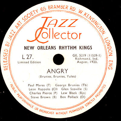 NEW ORLEANS RHYTHM KINGS  Angry / Shimme-Sha-Wabble 78rpm Schellackplatte  X3094