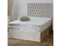 BLACK SILVER OR CHAMPAGNE -NEW CRUSHED VELVET FABRIC DOUBLE DIVAN BASE WITH DEEP SEMI ORTHO MATTRESS