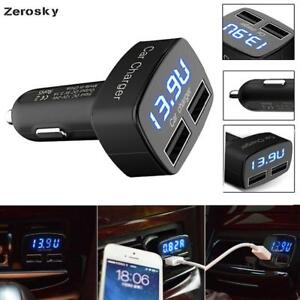 Dual USB Car Charger 4 in 1 Thermometer Car Charger