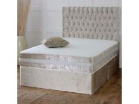 🌷💚🌷HIGH QUALITY🌷💚🌷DOUBLE CRUSHED VELVET DIVAN BED BASE WITH DEEP QUILTED MATTRESS