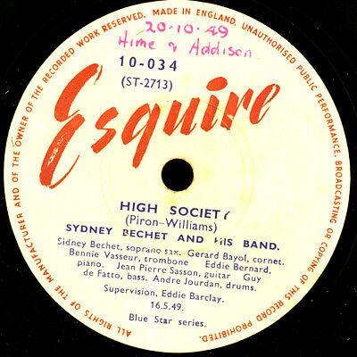 SIDNEY BECHET & BAND High Society / Honeysuckle Rose Schellackplatte 78rpm X3424