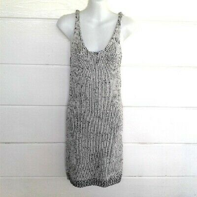 H&M Divided Women's Metallic Gray Knit Sweater Dress Sleeveless Size 12