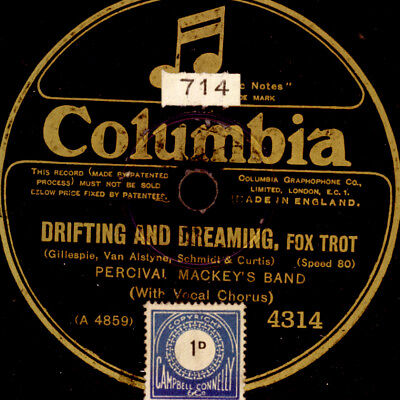 "PETRCIVAL MACKEY'S BAND    Drifting and dreaming    ""Golden 20'""     78rpm S9911"