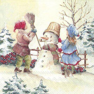 WINTER GARDEN Christmas Snowman Paper Lunch Napkins 33cm sq 20 pack