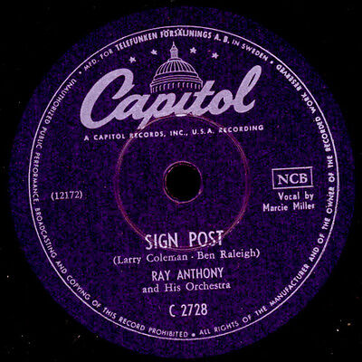 RAY ANTHONY &  HIS ORCHESTRA  Sign Post / Air Express  Schellackplatte   X1853