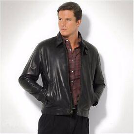 As New - Ralph Lauren Black Leather Jacket (Size: S)
