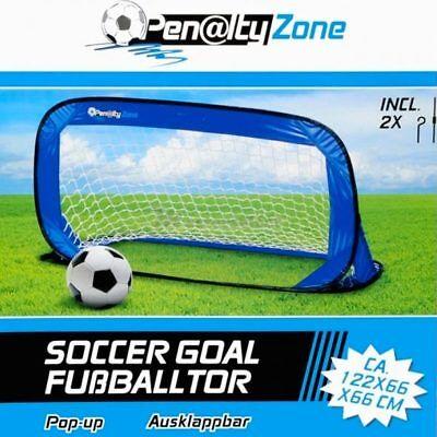Porta Da Calcio Apertura Pop-Up 122x66cm Sport Esterno Calcetto Blu Penalty Zone