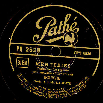 BOURVIL (der Schauspieler!)  Menteries / Le pisson rouge   Schellackplatte S6265