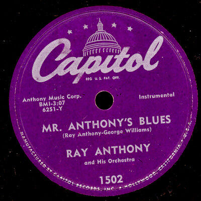 RAY ANTHONY & ORCH. Mr. Anthony's Blues/ Cook's Tour 78rpm Schellackplatte X2605