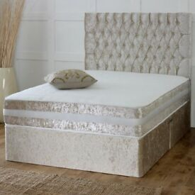 🚚🚛BLACK SILVER OR CREAM🚚New Double / King Divan crush velvet Bed Base With DEEP QUILT Mattress