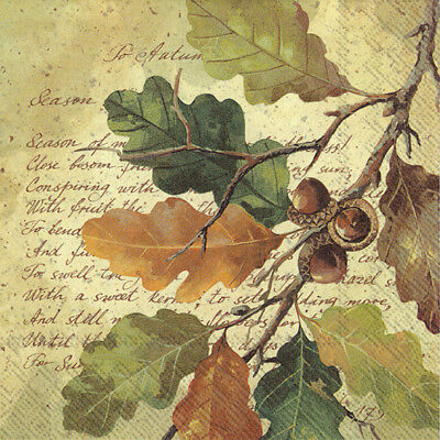 OAK AT AUTUMN leaves paper 33cm square  lunch napkins 20 pack