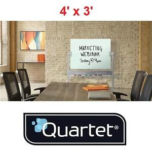 NEW* QUARTET DRY ERASE MOBILE EASEL INFINITY GLASS MAGNETIC 4' x 3' - WHITEBOARD WHITEBOARDS PRESENTATION CLASSROOM