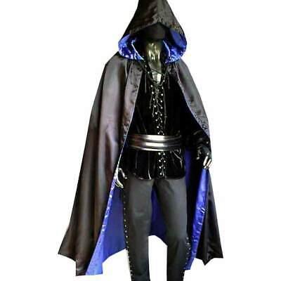 WENDE CAPE Umhang schwarz/blau Satin 5041 Gewandung Mittelalter - Satin Vampir Cape Kostüme