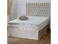 MASSIVE SALE! CREAM CRUSHED VELVET DIVAN BED AND MATTRESS, SINGLE,DOUBLE AND KING SIZE AND HEADBOARD