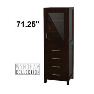 NEW* WC SHEFFIELD TOWER CABINET - 122397802 - WYNDHAM COLLECTION - ESPRESSO LINEN CABINET BATHROOM STORAGE FURNITURE ...