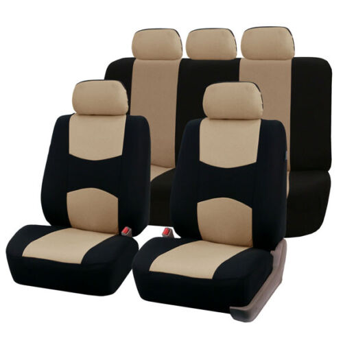 FH Group Multi-functional Flat Cloth Car Seat Cover Set of 2 Beige