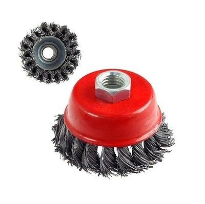"""3"""" x 5/8"""" 11 NC FINE Knot Wire Cup Brush - For Angle Grinders Knotted Wheel"""