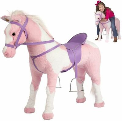Kids Large Ride On Stable Rocking Horse Toy Plush for Toddlers Children Pink