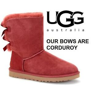 NEW UGG BOOTS WOMEN'S 8 - 105873640 - REDWOOD - BAILEY BOW CORDUROY - SHOES