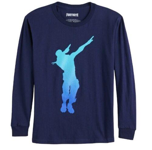 Boys Fortnite Dab Dance Long Sleeve Navy Top Tee T-Shirt 8 10-12 14-16 NWT