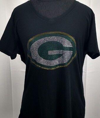 Women's Green Bay Packers Rhinestone Football V-neck T-Shirt Tee Bling Ladies