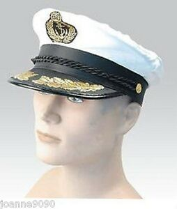NEW-WHITE-AND-GOLD-DELUXE-SEA-MARINE-SAILOR-CAPTAIN-FANCY-DRESS-COSTUME-HAT-CAP