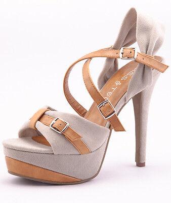 Nude Beige Brown Faux Suede High Heel Open Toe Strappy Slingback Platform Sandal Brown Suede High Heel