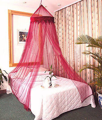 BURGANDY BED CANOPY BEDROOM NETTING MOSQUITO NET CURTAINS DÉCOR BUG INSECT -