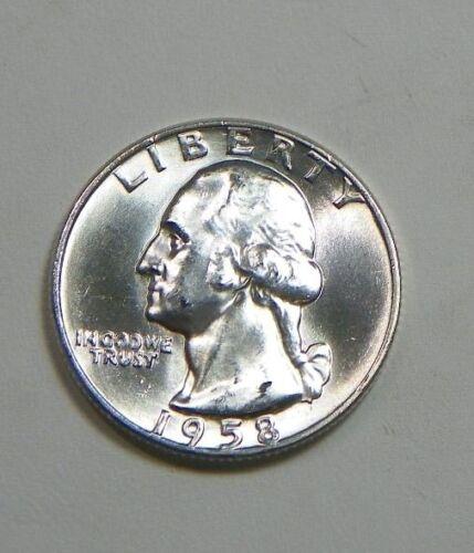 1958 D Silver Washington Quarter U.S. Mint 90% Silver B.U