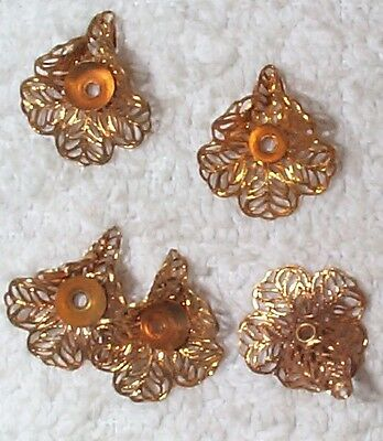 Vintage Stamping Setting - VINTAGE FILIGREE BRASS 3 DIMENSIONAL LILY STAMPING WITH SETTING 10 PIECES