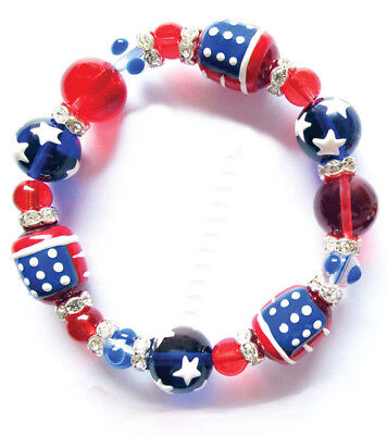 All American Red White Blue Rhinestone Glass Bead Kate and Macy Stretch Bracelet - Red White And Blue Bracelet
