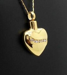 S/Steel Gold Diamond Heart Memorial Keepsake Cremation Urn Pendant Jewellery -cz