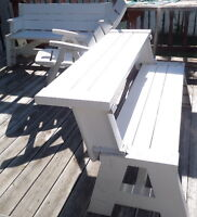 WHITE HEAVY DUTY PLASTIC RESIN PICNIC TABLE BENCHES LIKE NEW$100