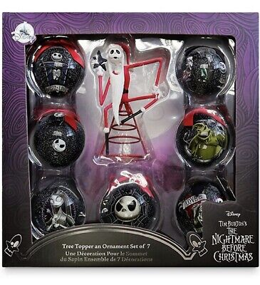 NEW DISNEY THE NIGHTMARE BEFORE CHRISTMAS TREE TOPPER & BAUBLE SET