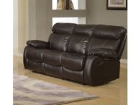 Maisy Leather Recliner sofa - 3+2 seater in black
