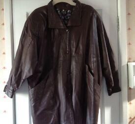 Ladies vintage brown leather jacket - size large