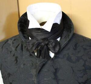 Wholesale-Regency-Victorian-Ascot-Cravat-Tie-Black-Dupioni-Silk-4x78