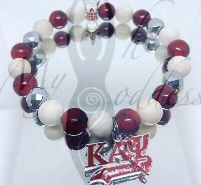 Kappa Alpha Psi Inspired Beaded Stretch Bracelet w/gemstone