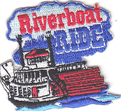 """""""RIVERBOAT RIDE"""" -Iron On Embroidered Patch-Vacation, Adventure, Trips, Ride"""