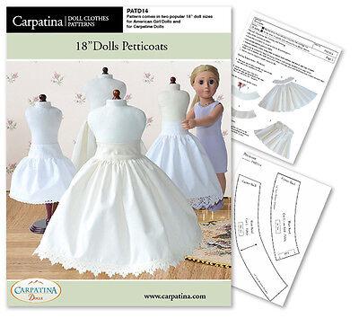 Dolls Petticoat Crinoline Sewing Pattern fits 18 Inch Carpatina & American Girl®