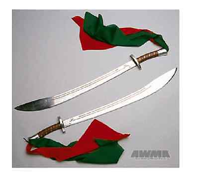 "Double Broadsword Chinese Tai Chi Kung fu Karate Weapon Aluminum 33"" w/ Scabbard"