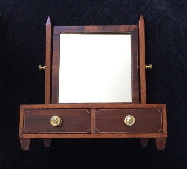 Dressing Mirror Mahogany with Shell Inlay ~ Antique Georgian ~ Table Top