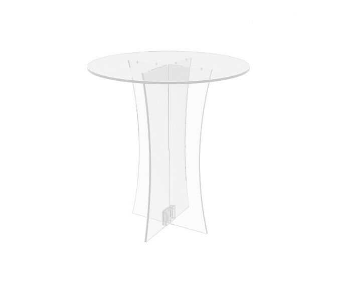 Clear transparent table breakfast coffee Plexiglass showcase round small desk