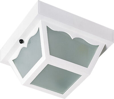 "Nuvo 1 Light 8"" Carport Flush Mount With Frosted Acrylic Panels"