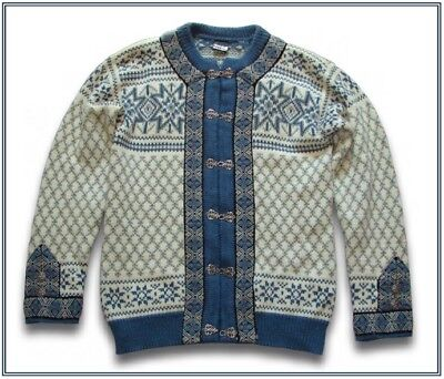 Dale of Norway blue cream nordic snowflake wool sweater clasp cardigan 42 M L