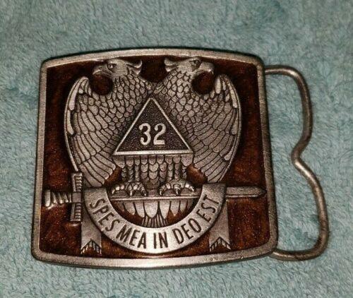 Vintage Masonic 32 Degree Bergamot Enamel Belt Buckle, Spes Mea In Deo Est