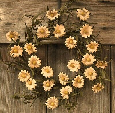 New Primitive Country Cottage TEA STAINED DAISY CANDLE RING Spring Decor
