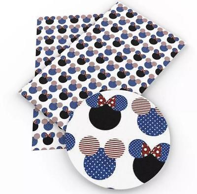 Mickey Minnie Mouse 4th of July faux leather fabric sheet / full or 1/2 sheet