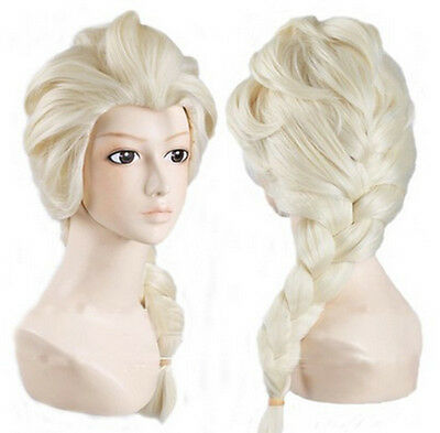 Frozen Elsa Children's Wig hair peice blond plait  fancy dress girls FREE Tiara