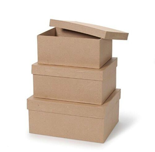 Paper Mache Boxes,  3 Piece Set, 8 in, 9 in, 10 in with Lids, Darice
